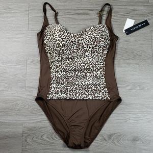 La Blanca Animal Print Onepiece Swimwear sz 14